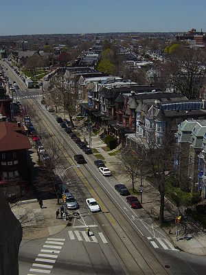 West Philadelphia - West Philadelphia, looking west from the steeple of Calvary United Methodist Church at 48th Street and Baltimore Avenue