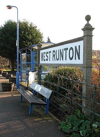 Running in board - A Running in board at West Runton railway station