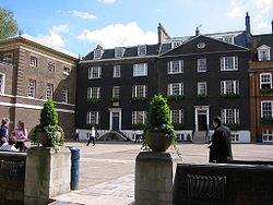 Rigaud's House (far right), Grant's House (right), residence of the Master of the Queen's Scholars (centre), College (far left, top floors) and Dryden's House (far left, ground floor)