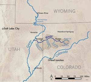 White River (Green River tributary) - Image: Whiteriverutmap
