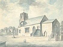 Whittington church and castle, 1793.jpg