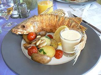 Zander - Whole baked zander served in a restaurant in Balatonfüred, Hungary.