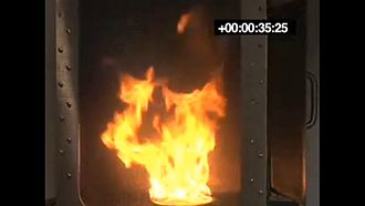 Condensed aerosol fire suppression - Fire, T1, at 35.25 seconds, before application of condensed aerosol suppressant