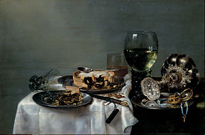 Willem Claesz. Heda - Breakfast Table with Blackberry Pie (1631), Gemäldegalerie Alte Meister