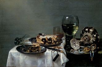 Willem Claesz. Heda - Breakfast Table with Blackberry Pie (1631), Gemäldegalerie Alte Meister