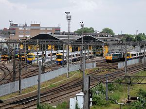 Willesden Traction Maintenance Depot - London Overground units and a Class 87 at Willesden TMD.