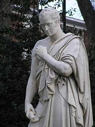 John Gibson (sculptor) - Detail of statue of William Huskisson by John Gibson in Pimlico Gardens, London.