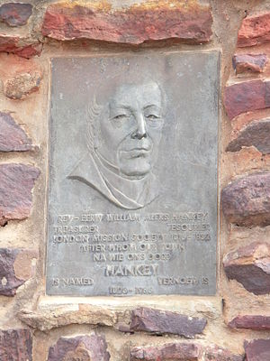 Hankey - Engraving of Reverend William Alers Hankey on a monument in Hankey