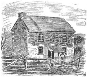 William Parker (abolitionist) - Line drawing of William Parker's house, circa 1851.