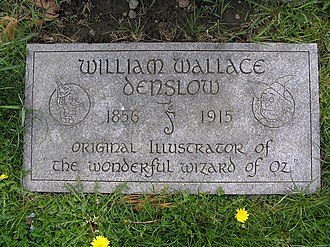 William Wallace Denslow - The footstone of William Wallace Denslow in Kensico Cemetery, featuring his seahorse insignia and images of the Scarecrow and Tin Woodman