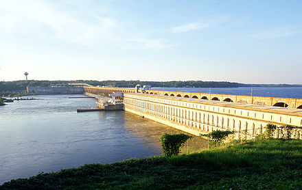 Wilson Dam, completed in 1924, was the first dam under the authority of TVA, created in 1933. Wilson Dam.jpg