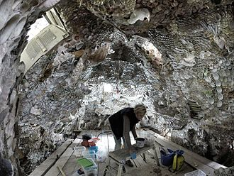 St Giles House, Wimborne St Giles - Conservation on the shell grotto in July 2014