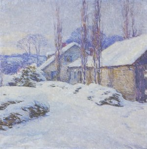 Ellen Biddle Shipman - Willard Metcalf, a fellow member of the Cornish Art Colony in Plainfield, painted this while staying with the Shipmans at Brook Place. Ellen and her husband renovated the house in an Italianate Style. Painted here is the original part of the house.