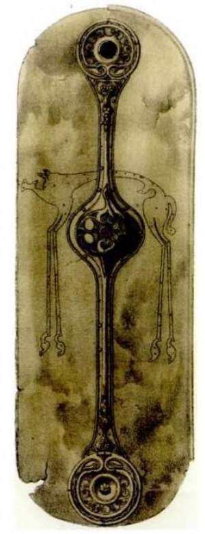 Witham Shield - Drawing of the shield made in 1863 by Orlando Jewitt in John Kemble's book Horae Ferales, clearly showing the long-legged boar