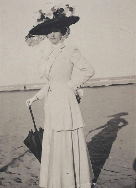 File:Woman in white on Beach with Parasol 1900s.jpg