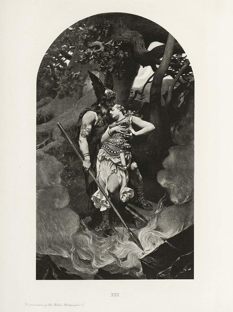 Wotan takes leave of Brunhild (1892) by Konrad Dielitz