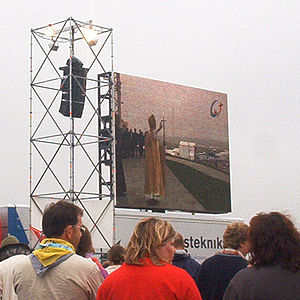 World Youth Day 2005 - Pilgrims watch Pope Benedict XVI celebrating Mass on big screens