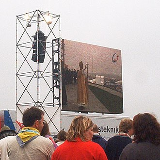 World Youth Day 2005 - Pilgrims watch Pope Benedict XVI celebrating Mass on big screens