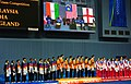 XIX Commonwealth Games-2010 Delhi Winners of (Mixed Team Badminton), Malaysia (Gold), India (Silver) and England (Bronze), during the medal presentation ceremony, at Siri Fort Complex, in New Delhi on October 08, 2010.jpg