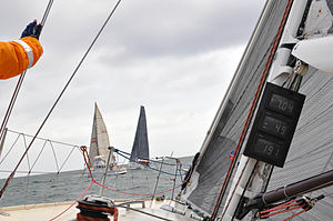 Yacht racing - A yacht race at the finish line