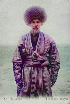 Culture of Turkmenistan - A Yomut Turkmen in a traditional attire, early 20th century.