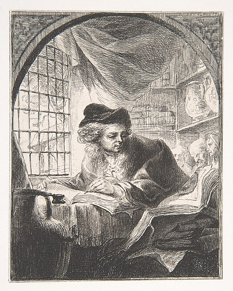 File:Young Man Writing and Reading from Large Volume at His Left MET DP808614.jpg