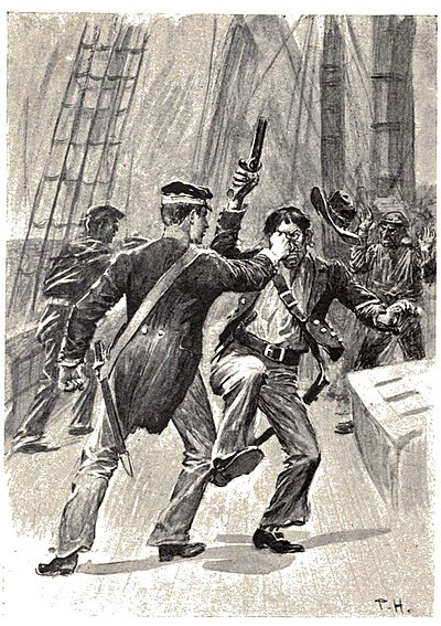 Two men facing each other. One is firing a pistol into the air as a result of the other forcing it upwards.