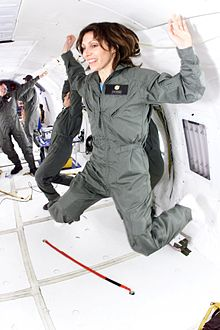 Faye Flam aboard NASA's astronaut training plane while reporting a story in 2014.
