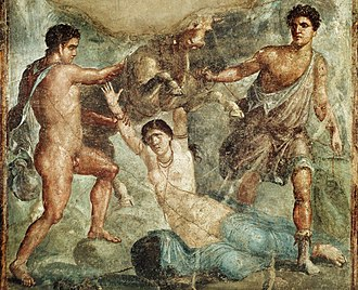 Dirce - Amphion and Zethus subject Dirce to the bull (from the House of the Vettii, Pompeii)