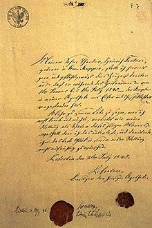 Referenz für Fontane von seinem Vater (1845) (Quelle: Wikimedia)