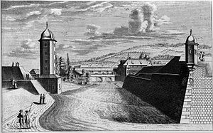 Schanzengraben Zürich - Drawing showing the ''Katz'' bulwark in the 1730s