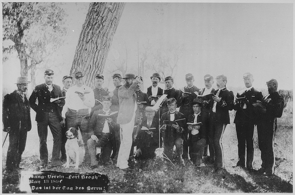 """German Singing Society, 22nd Infantry, Ft. Keogh, May 13, 1894."" An open-air songfest - NARA - 531105"