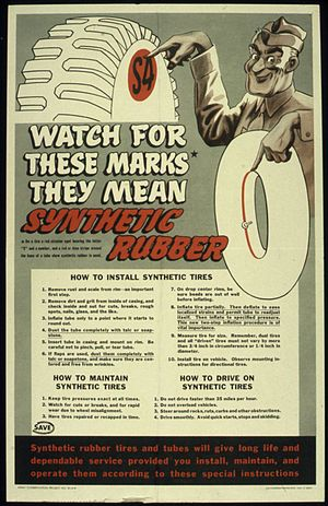 Synthetic rubber - World War II poster about synthetic rubber tires