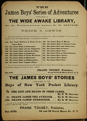 """Frank Tousey - A listing of the James Boys' Series from Tousey's """"Wide Awake Library"""""""