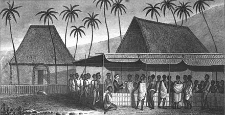 William Ellis preaching to the Natives, Hawaii, c. 1823 'A Missionary Preaching to the Natives, under a Skreen of platted Cocoa-nut leaves at Kairua' by William Ellis.jpg