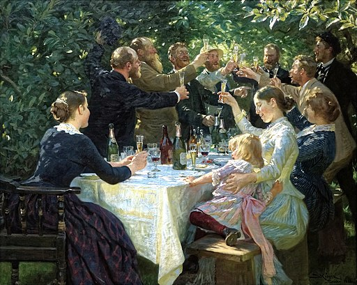 'Hip, Hip, Hurrah! Artist Festival at Skagen', by Peder Severin Krøyer (1888) Demisted with DXO PhotoLab Clearview; cropped away black border edge