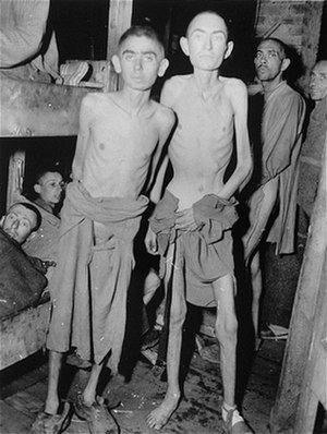 Weingut I - Survivors of the Mühldorf concentration camp upon liberation by the US army in 1945