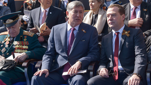Foreign relations of Kyrgyzstan - President Almazbek Atambayev and Russian PM Dmitry Medvedev during the Moscow Victory Day Parade, 9 May 2015