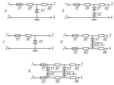 Принципиальные электрические схемы блоков искрозащиты на стабилитронах. a- схема блока с балластным резистором; b...