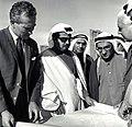 صاحب السمو الملكي الأمير خليفة بن سلمان آل خليفة رئيس الوزراء الموقر حفظه الله ورعاه يتفقد مدينة عيسى عام 1965م.jpg