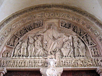 Tympanum (architecture) - The late Romanesque tympanum of Vézelay Abbey, Burgundy, France, dating from the 1130s