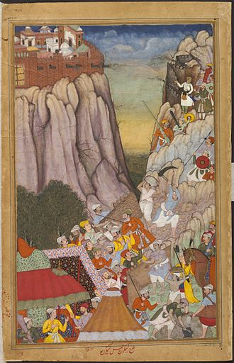 Siege of Ranthambore (1568) - The Mughal Emperor Akbar, commands his troops to set up siege engines against Rao Surjan Hada.