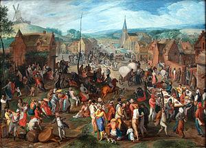 Fair - Village fair by Flemish artist Gillis Mostaert 1590