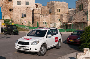 Temporary International Presence in Hebron - A vehicle belonging to the TIPH