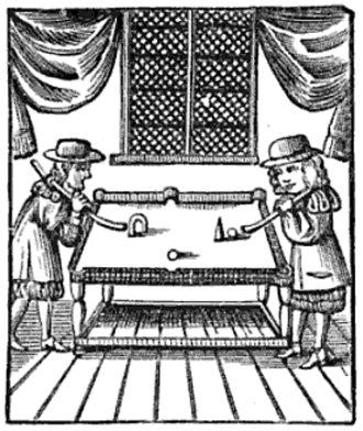 Cue sports - Engraving of an early billiards game with obstacles and targets, from Charles Cotton's 1674 book The Compleat Gamester