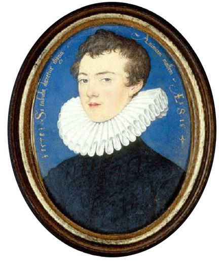 "The young Bacon - inscription around his head reads: Si tabula daretur digna animum mallem, Latin for ""If one could but paint his mind"" - National Portrait Gallery, London 18-year old Francis Bacon.jpg"