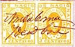 1861 5cent pair EU de Nueva Granada pen Ambalema-Sc14a Mi10a.jpg