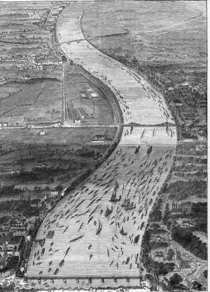 The Boat Race 1870 - An artist's aerial view of the 1870 Boat Race