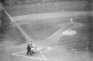 1913 World Series - Game 4 at Shibe: Doc Crandall at the plate, Chief Bender on the hill