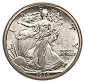 1945-D WALKING LIBERTY SILVER HALF DOLLAR IN FINE CONDITION H-20-18